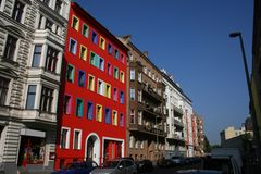 Old new facade. Street with multicoloured building in berlin Royalty Free Stock Photo
