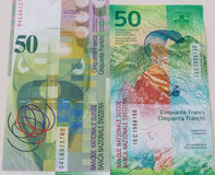 Old and New Fifty Swiss Franc bills royalty free stock image