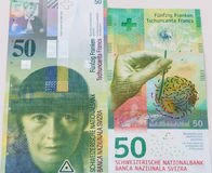 Old and New Fifty Swiss Franc bills royalty free stock photos