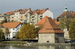 Old and new flats. Old and new buildings in city of Maribor, Slovenia Royalty Free Stock Image