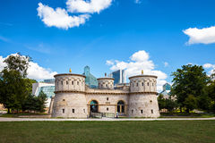 Old and New. Fort Thungen, Mudam and the surrounding park with a beautiful cloudscape Royalty Free Stock Photos