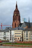 Old and New Frankfurt Germany. View of some old and newer buildings in Frankfurt Germany from the bridge over the Main River Stock Image