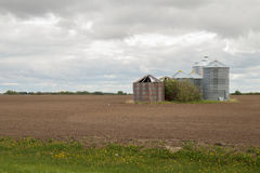 Old and new grain bins Stock Image