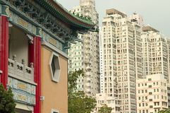 Old and New, Hong Kong. An old temple and new buildings in urban Hong Kong (Kowloon Royalty Free Stock Photos