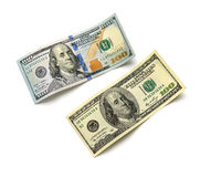 Old and new hundred-dollar bill. On a white background Royalty Free Stock Image