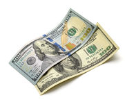 Old and new hundred-dollar bill. On a white background Royalty Free Stock Photo