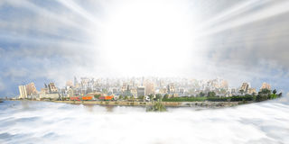 Old and new jeddah over sea of clouds at daylight with sun beam. From imagination Stock Image