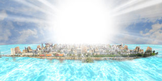 Old and new jeddah over sea at daylight with sun beam. Old and new jeddah over sea  at daylight with sun beam from imagination Royalty Free Stock Images