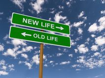 Old or New Life Highway Signs. Road sign pointing to the choices of new or old life with arrows Stock Image