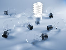 Old and new lightbulbs Stock Images