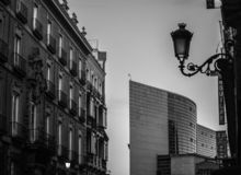 Old and new in Madrid, Spain royalty free stock photos