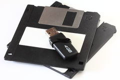 Old and new media storage Stock Images