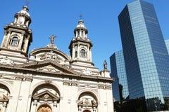 Old and New.  Metropolitan Cathedral of Santiago, Archbishop of Santiago de Chile. Plaza de Armas. Chile. Old and New.  Metropolitan Cathedral of Santiago Royalty Free Stock Image