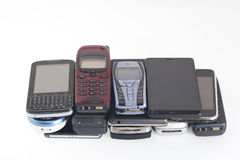 Old and new Mobile phones, smartphone. Old and new Mobile phones and smartphone Stock Image