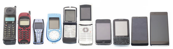 Old and new Mobile phones, smartphone Royalty Free Stock Photos