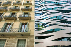 Old and New Neighboring Buildings in Barcelona Royalty Free Stock Photo
