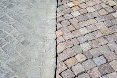 Old and new pavers compared Stock Images