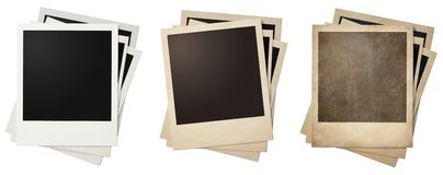 Old and new polaroid photo frames stacks isolated. On white