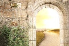 Old and new. Old portal to new life Royalty Free Stock Photography