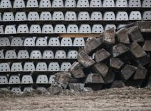 Old And New Railroad Ties Stock Photo