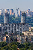 Old and new residential district in Kyiv. Capital of Ukraine - Kiev. Right and Left coast of Dniper. Old and new residential district in Kyiv Royalty Free Stock Images