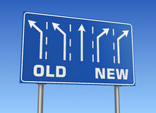 Old new road sign Stock Image