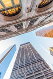 Old and new skyscrapers of New York City, view from underneath Stock Photos