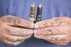 Old and new spark plugs Royalty Free Stock Photography