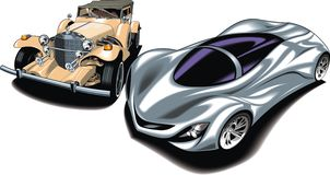 Old and new sport cars (my original design). Isolated on the white background Royalty Free Stock Photos