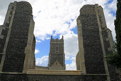 The Old and the New, St Andrew`s Church, Walberswick Stock Photo