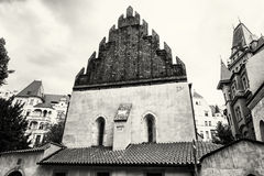 Old new synagogue near High synagogue in Prague, black and white Stock Images