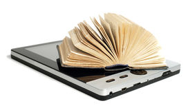 Old and new technology of reading. Old and new technology. Old book with new e-reader on white background stock photography