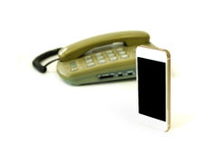 Old and new telephone Royalty Free Stock Photo