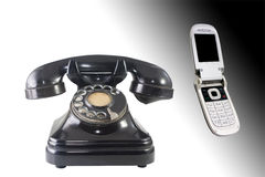 Old and new telephones Royalty Free Stock Photo
