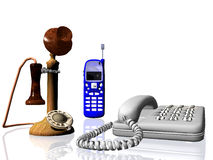 Old and new telephones royalty free stock photography