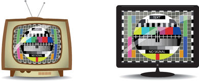 Old and new television with monoscope. Retro and new television with monoscope screen Royalty Free Stock Image