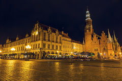 Old and New Town Hall by night in Wroclaw Stock Photography