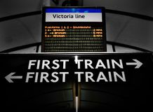 Old and new tube display boards Royalty Free Stock Photos