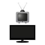 Old and new TVs.  Royalty Free Stock Photo