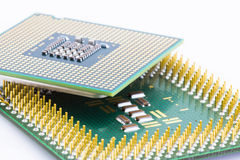 Old and new type of processors. Old and new processors with various types of contacts Royalty Free Stock Photography