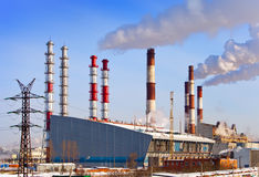 Old and new unit of combined heat and power plant Royalty Free Stock Photos
