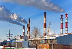 Old and new unit of combined heat and power plant Royalty Free Stock Image