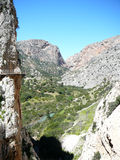 Old and new walkway in El Chorro National Park Stock Photos