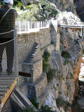 Old and new walkway in El Chorro National Park Royalty Free Stock Photo