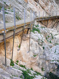 Old and new walkway in El Chorro National Park Royalty Free Stock Photos