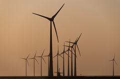 The Old and the New in wind turbine technology Royalty Free Stock Image