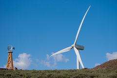 Old and new wind turbines Royalty Free Stock Photo