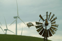 Old and New Windmills stock photography