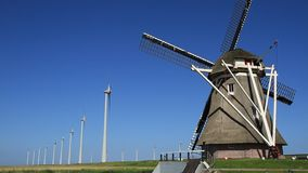 Old and new windmills stock footage