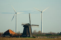 Old and new windmills Stock Photos